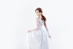 Portrait of happy bride in wedding dress, white Royalty Free Stock Photos