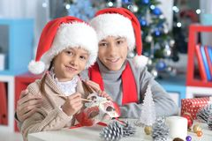 Brother and sister preparing for Christmas. Portrait of happy brother and sister preparing for Christmas at home Stock Photography