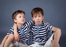 Portrait of happy brothers Stock Photo