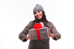 Portrait of happy Brunette girl with present box in hands Stock Photo