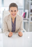 Portrait of happy business woman with eyeglasses Stock Photos