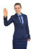Portrait of happy business woman greeting Royalty Free Stock Images