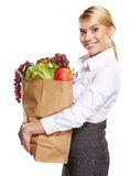 Portrait of happy business woman holding a shopping bag Stock Image