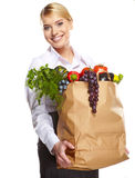 Portrait of happy business woman holding a shopping bag Royalty Free Stock Photos