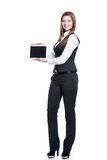 Portrait of  happy business woman holding tablet. Stock Images