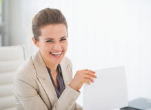 Portrait of happy business woman in office Royalty Free Stock Photo