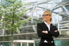 Portrait of a happy business woman smiling Stock Photos