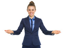 Portrait of happy business woman welcoming. Isolated on white Royalty Free Stock Photo