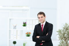 Portrait of happy businessman with arms crossed standing stock photos