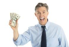 Portrait Of Happy Businessman Showing Dollar Bills. Portrait of happy mature businessman showing dollar bills against white background Stock Photo