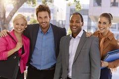 Portrait of happy businessteam outdoors stock photos