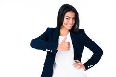 Portrait of a happy businesswoman showing thumb up Royalty Free Stock Image