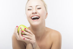 Portrait of Happy Caucasian Woman Dieting and Eating Apple. Heal Stock Photos