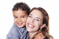 A portrait of happy cheerful African family. Children boy with mother royalty free stock photo