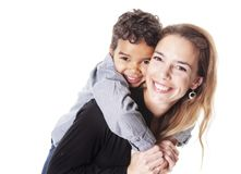 A portrait of happy cheerful African family. Children boy with mother stock photos