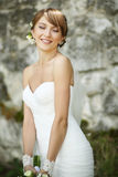 Portrait of happy cheerful smiling bride outdoors Royalty Free Stock Photography