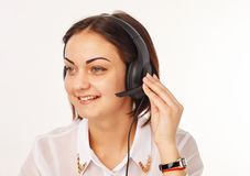 Portrait of happy cheerful support phone operator in headset Stock Photo