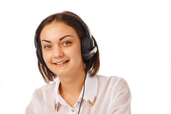 Portrait of happy cheerful support phone operator in headset. Portrait of happy smiling cheerful support phone operator in headset Stock Photos