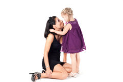 Portrait of happy cheerful woman with little girl Stock Photography