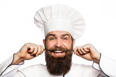 Portrait of a happy chef cook. Cook hat. Bearded chef, cooks or baker. Bearded male chefs isolated on white. Funny chef royalty free stock photo