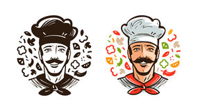 Portrait of happy chef, cook. Cuisine, cooking logo or label. Cartoon vector illustration Royalty Free Stock Photos
