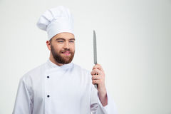 Portrait of a happy chef cook holding knife Royalty Free Stock Image
