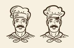 Portrait of happy chef, cook. Sketch vintage vector illustration. Portrait of happy chef, cook. Sketch vector illustration Royalty Free Stock Image