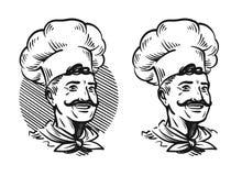 Portrait of happy chef. Element for design menu restaurant or cafe. Sketch vector illustration Stock Photography
