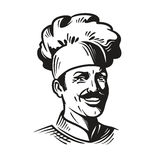 Portrait happy chef in hat and mustache. Smiling cook man. Vector illustration. On white background Royalty Free Stock Photos