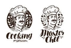 Portrait of happy chef logo or label. Cooking, cuisine icon. Vintage vector illustration Royalty Free Stock Photos