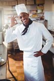 Portrait of happy chef making ok sign Stock Images