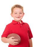 Portrait of happy child with football isolated Royalty Free Stock Photo