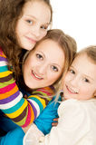 Portrait of happy children and mothers Stock Photos