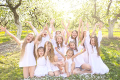 Portrait of happy children on nature Royalty Free Stock Photography