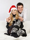 Portrait of a happy Christmas couple Royalty Free Stock Photos