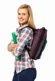 Portrait Of Happy College Student Against White Background Royalty Free Stock Image