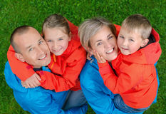 Portrait happy and colorful family. Top view Stock Photography