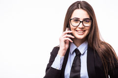 Portrait of happy confident businesswoman talking on the mobile cell phone Stock Images