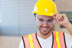 Portrait of a happy construction worker Stock Photography
