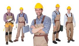 Portrait of happy construction workers Stock Images