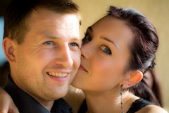 Portrait of a happy couple. With vigneted dark corners and vintage sephia look Stock Photos