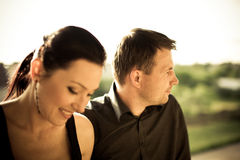 Portrait of a happy couple. With vigneted dark corners and vintage sephia look Royalty Free Stock Images