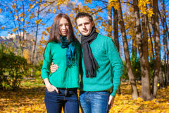 Portrait of Happy couple in autumn park on a sunny Stock Images