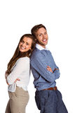 Portrait of happy couple back to back. Side view portrait of happy young couple back to back over white background Stock Photography