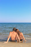 Portrait of happy couple  on the beach Royalty Free Stock Photo