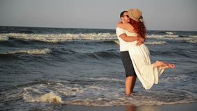 Portrait of Happy Couple On Beach. The Best Honeymoon Ever. They Spend This Time Together. HD, Sea, Lovers, Back View stock footage