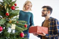 Couple celebrating christmas stock photography