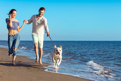 Portrait of a happy couple with dogs at the beach Stock Photo