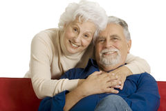 Portrait of a happy couple of elderly. In a white background Royalty Free Stock Images