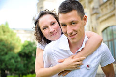 Portrait of a happy couple embracing eachother Stock Image